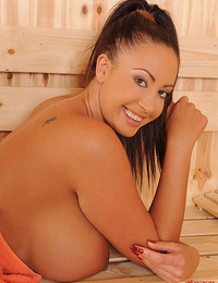 Emma Butt heating up her snatch and cha-cha\\'s in the sauna!